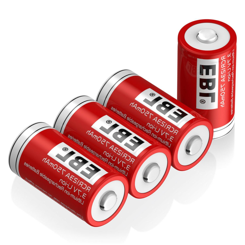 4x EBL RCR123A 16340 Li-ion Rechargeable Battery For Flashli