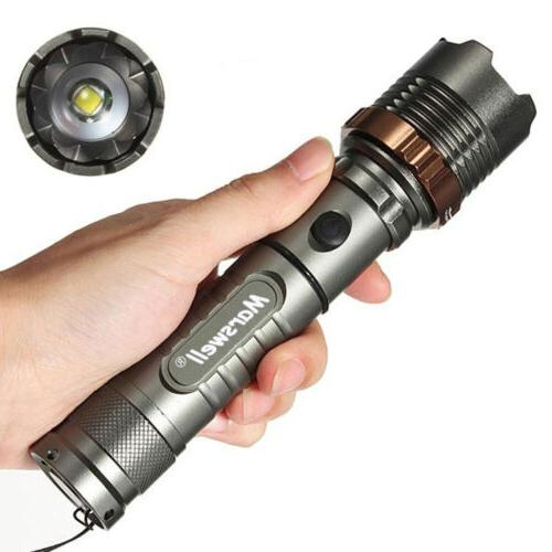 5000Lumen LED Zoom Flashlight Torch Rechargeable + Battery + Charger
