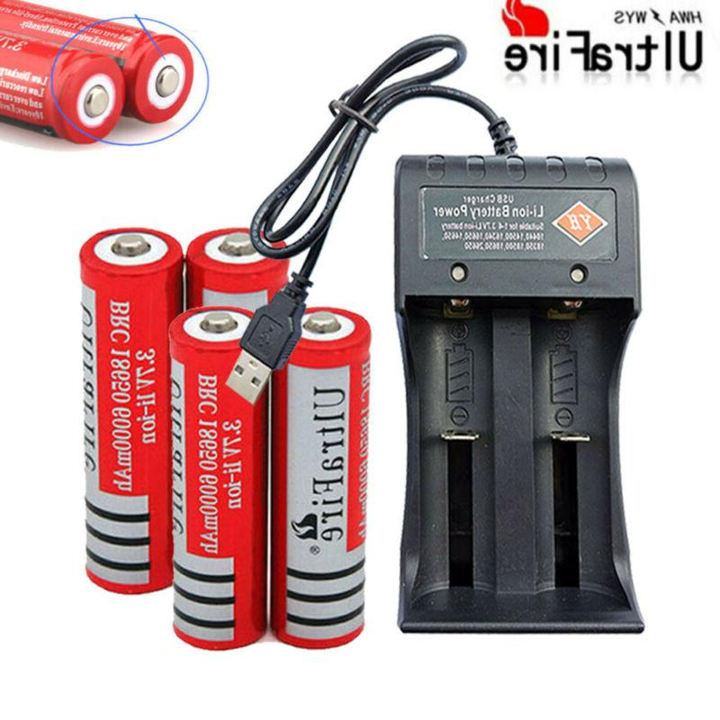 8* 3.7V 6000mAh Rechargeable + 2 Charger