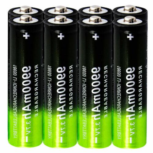 8 pack 18650 battery rechargeable 3 7v