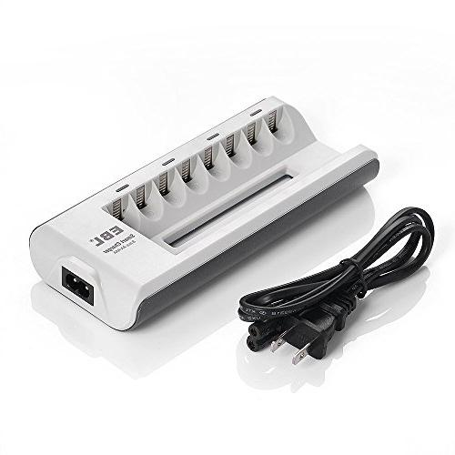 EBL 808 Bay AA AAA Battery Charger with 8 AA 2300mAh Rechargeable Battereis,