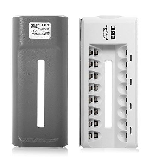 EBL Rapid Charger 8 Counts AA 2300mAh Ni-MH Rechargeable Battereis,