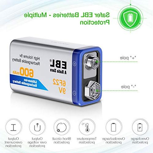EBL 9V Batteries Li-ion Batteries with 840 Battery