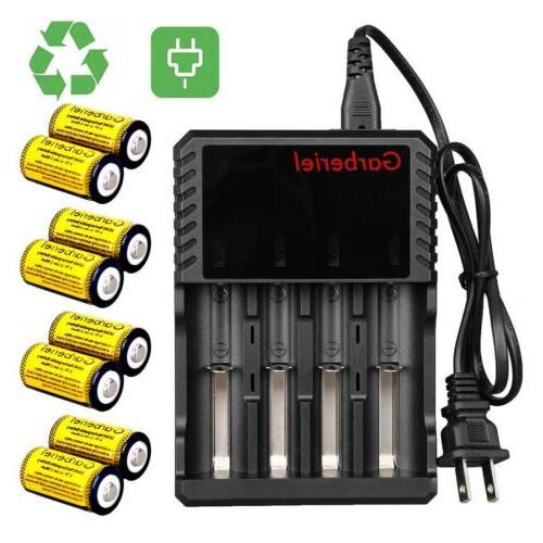 8pcs 16340 cr123a battery 3 7v li