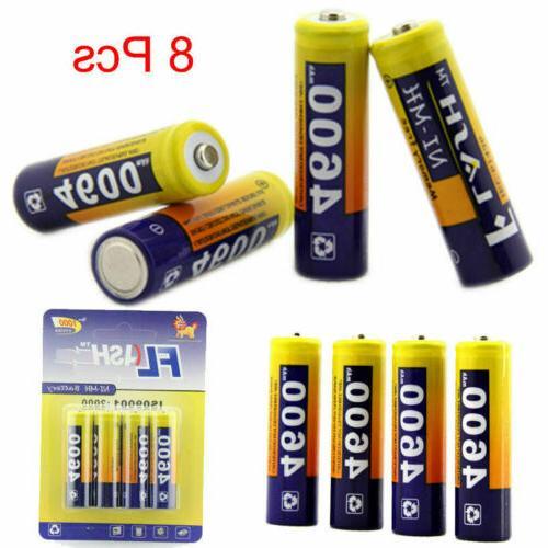 8pcs aa rechargeable batteries li ion 4600mah