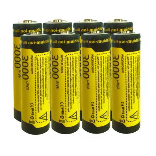 8pcs rechargeable battery 3000mah 3 7v 1865o