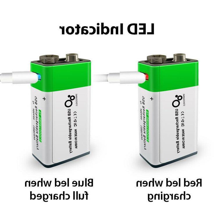 9 Volt USB C Rechargeable Battery 2 pack