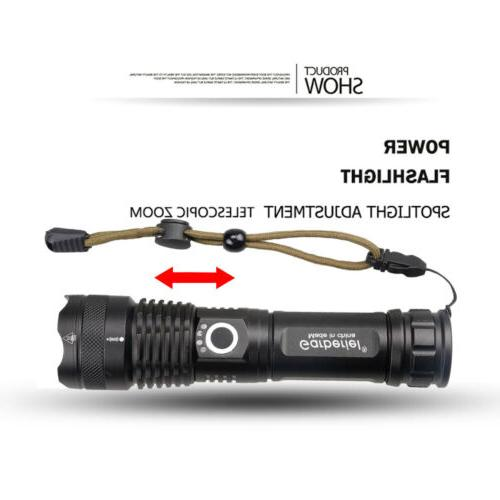 900000 Zoomable XHP50 5 Modes LED Rechargeable 18650 Torch
