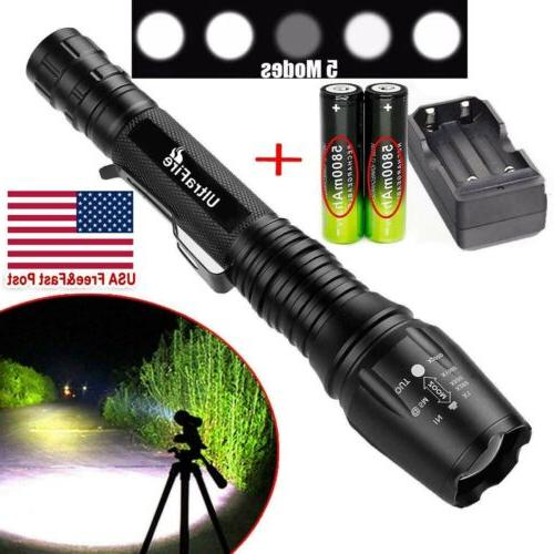 90000LM T6LED Flashlight Rechargeable Zoomable Charger