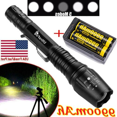 90000lm t6led flashlight rechargeable zoomable torch 18650