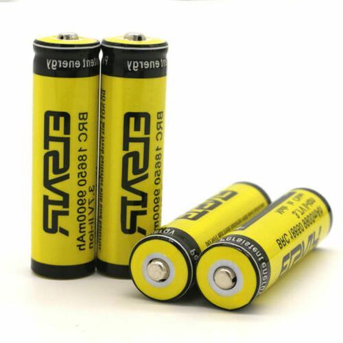 4Pcs 9900mAh Flashlight Battery 3.7V From