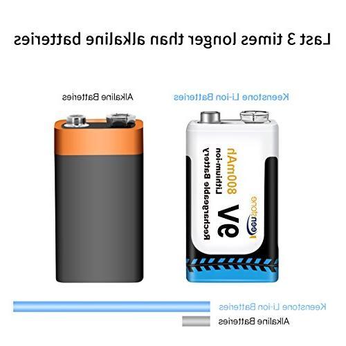 Keenstone 9V Rechargeable Li-ion Battery Charger TENS Detector Multimeter etc(3-Pack)