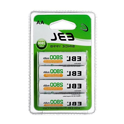 EBL AA Rechargeable Batteries 2800mAh New Retail Package, Pa