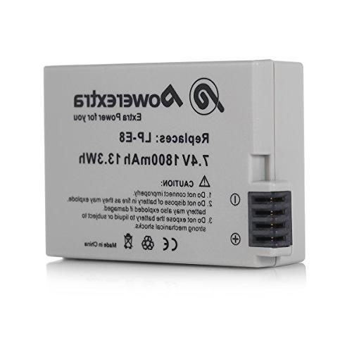 Powerextra Pack 1800mAh Replacement LP-E8 EOS T2i, 550D, X5, X6,