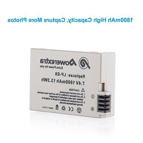 1800mAh Li-ion Canon LP-E8 for EOS Rebel T3i, T4i, X5, LC-E8E