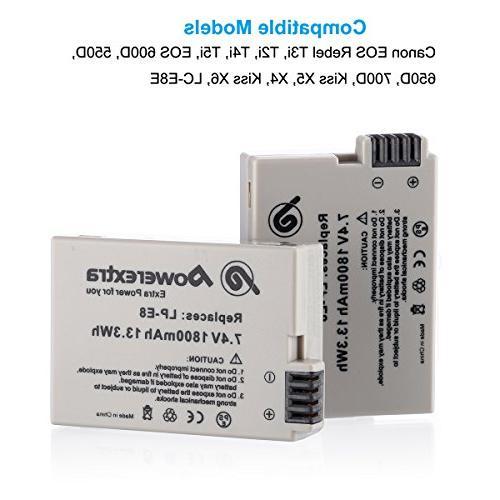 Powerextra 2 7.4V 1800mAh LP-E8 for EOS Rebel T3i, T4i, 550D, 700D, X5, X4, LC-E8E
