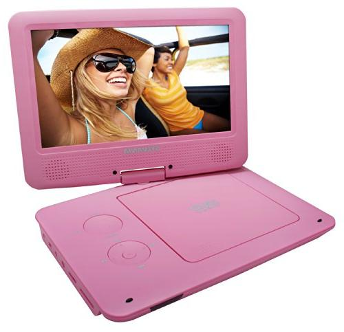 Sylvania Portable DVD/CD/MP3 Player 5 Hour Built-In Battery, Reader, AC/DC Pink