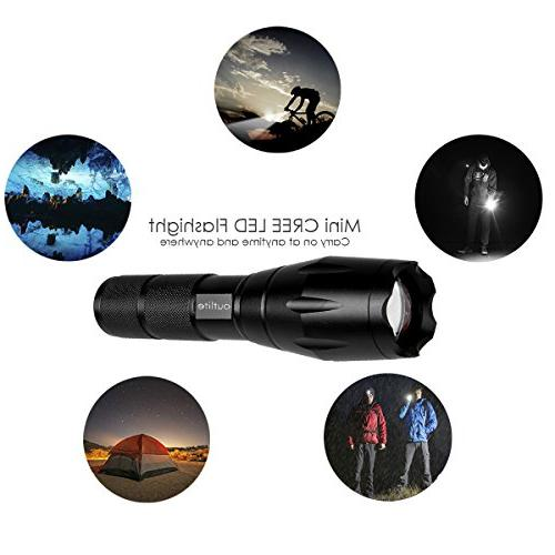 Outlite High Flashlights, Rechargeable Battery and Charger Portable and 5 Light Handheld Camping Hiking