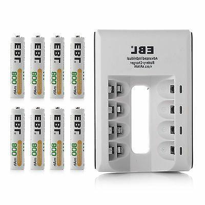 8x AAA Batteries +4-Slot USB AA AAA NIMH Battery Charger