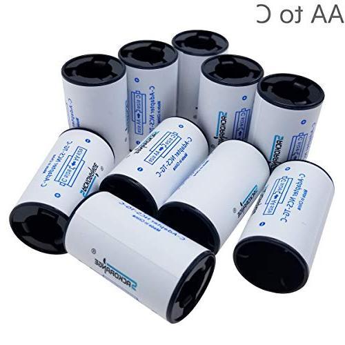 10 Pack AA To C Size Battery Box, Case,Sackorange Adapter Sp