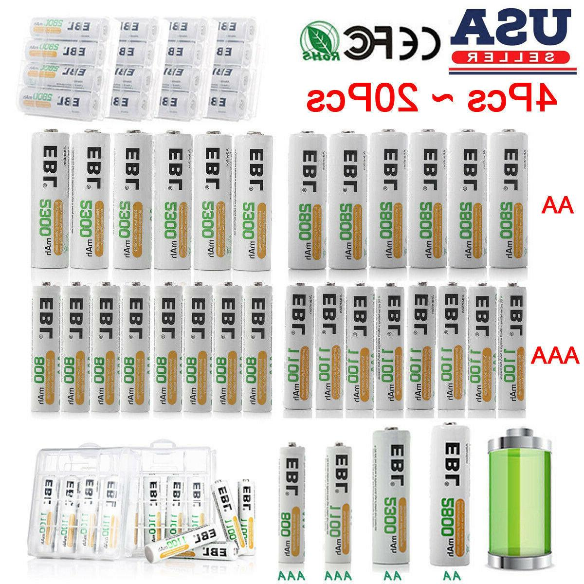 EBL Lot AAA AA Ni-MH Rechargeable Batteries for Camera Flash