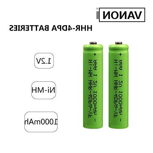 AAA Battery VANON 1000mAh Battery Ni-MH Cordless Battery, Pack of