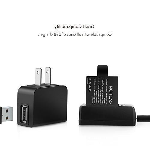 Victure Pack Camera Batteries Dual USB Battery Charger APEMAN Sjcam Hero