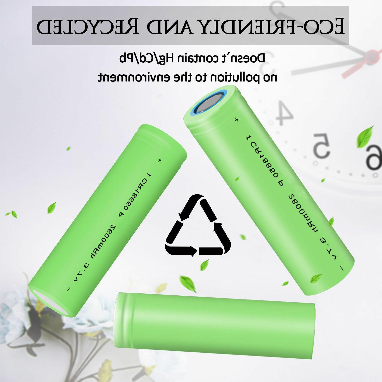 Batteries 2600mAh 18650 3.7V Flat Top Battery /Charger
