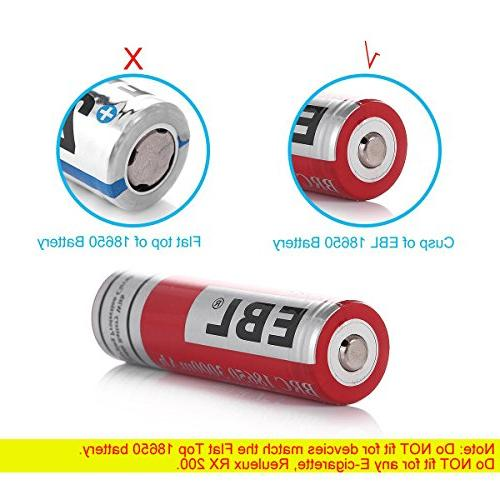 EBL Packs 18650 3.7V 3000mAh Rechargeable Batteries with Rechargeable