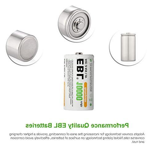 EBL D Size D 10000mAh Capacity Ni-MH Batteries with Storage Box, 4 Counts