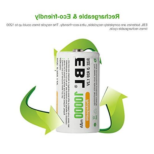 EBL D D Huge Capacity Rechargeable Batteries with 4
