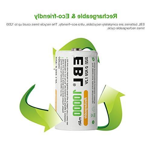 EBL D D Huge Capacity Rechargeable Batteries with 4