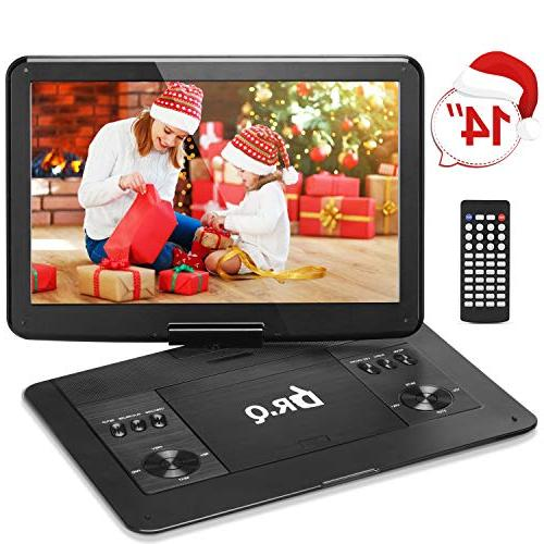 【Upgraded】 DR.Q Portable DVD Player with Hours Rechargeable Battery, HD Screen, Remote Control, Car Supports SD Port Formats-Black