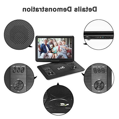【Upgraded】 DR.Q DVD Hours Battery, HD Screen, Remote Control, Supports Card, Port and Disc Formats-Black