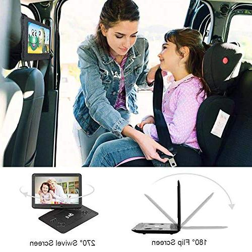 【Upgraded】 DR.Q 14.1'' DVD Player with Hours Rechargeable HD Swivel Screen, Control, 5.9ft Supports Port Formats-Black