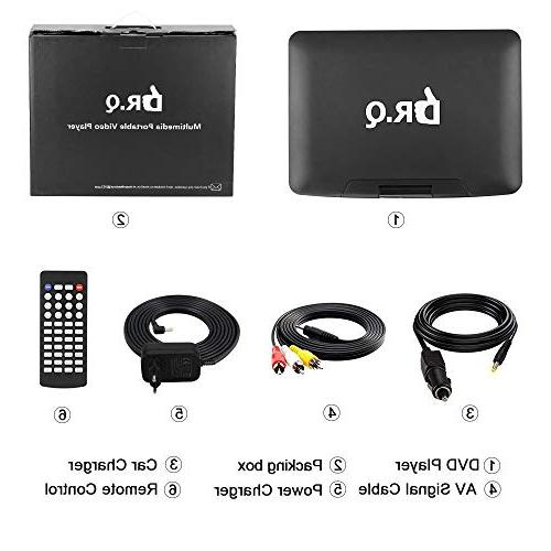 【Upgraded】 DR.Q DVD with Hours Rechargeable Battery, HD Swivel Control, Supports Card, Port Formats-Black
