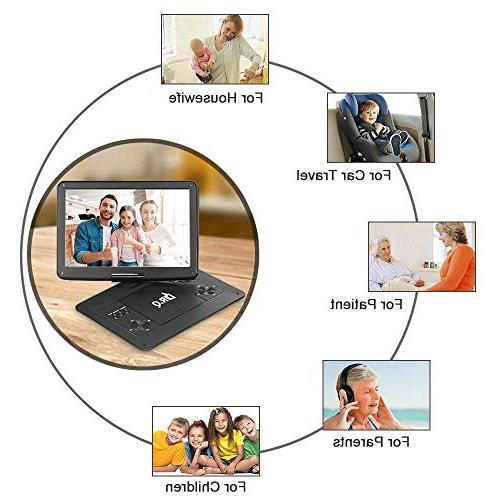 【Upgraded】 DVD Player Hours HD Control, Car Adapter, Supports SD Port and Multiple