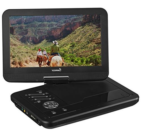 Impecca DVP1016 10.1 Portable DVD Player, Hour Rechargeable Battery, Screen, Black