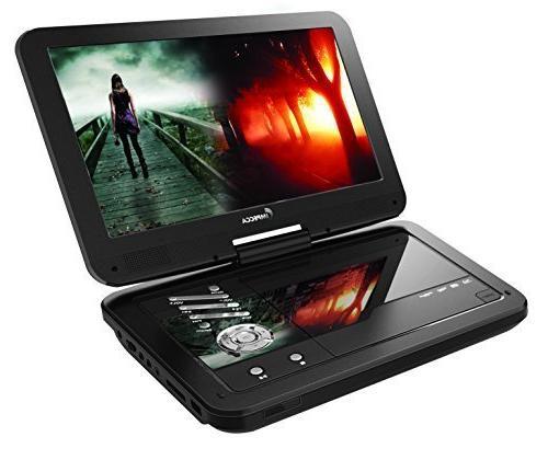 Impecca Portable DVD Player, 6 Hour Swivel Screen, Black