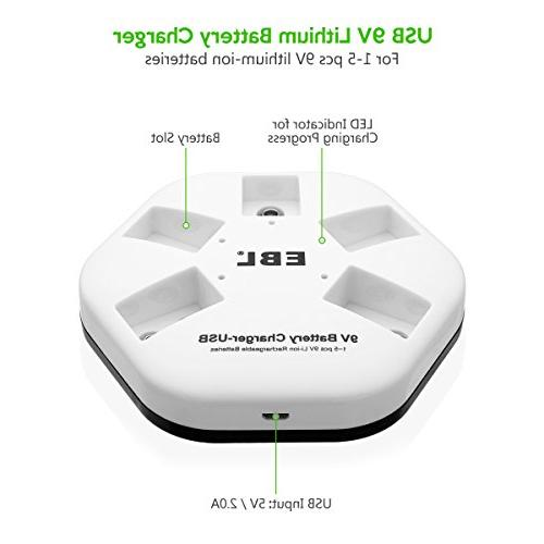 EBL 9V Batteries with Bay 9V Lithium ion Battery USB Charger