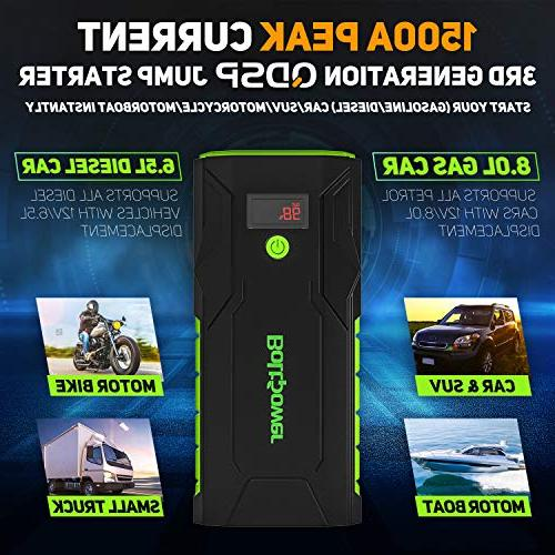 Bolt Power Peak Battery Booster for Gasoline 8L, Diesel up 6.5L, Dual USB and Type-C LED