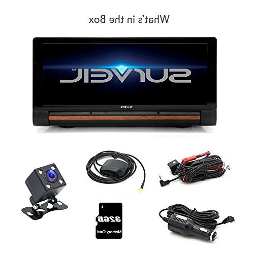 GPS Touchscreen Android Dashcam - Navigation Dual Built-in Front Rear FM Radio and Battery Pyle