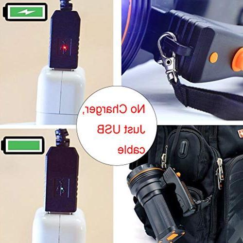 Eornmor Flashlight USB Rechargeable Super LED spotlight Long 9000ma 35W
