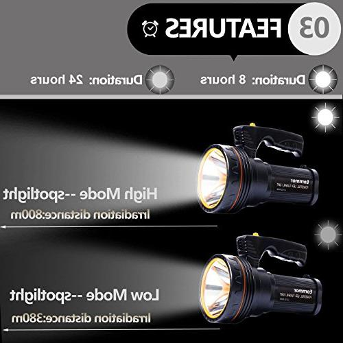 Eornmor Outdoor Handheld Flashlight Rechargeable LED spotlight Torch Multi-function Long 35W