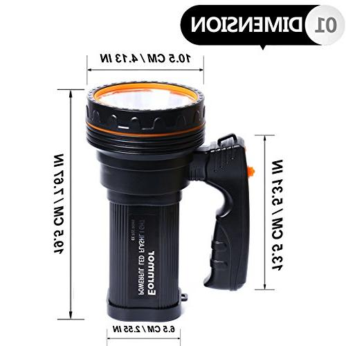 Eornmor Outdoor Flashlight 6000 Rechargeable Super LED spotlight Searchlight Multi-function Long Shots Lamp, 9000ma 35W