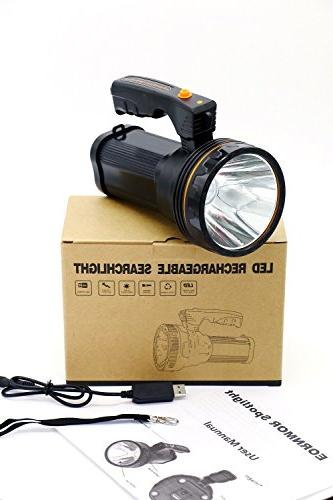 Eornmor Outdoor Handheld Portable Flashlight USB Rechargeable Bright LED spotlight Searchlight Long 9000ma 35W