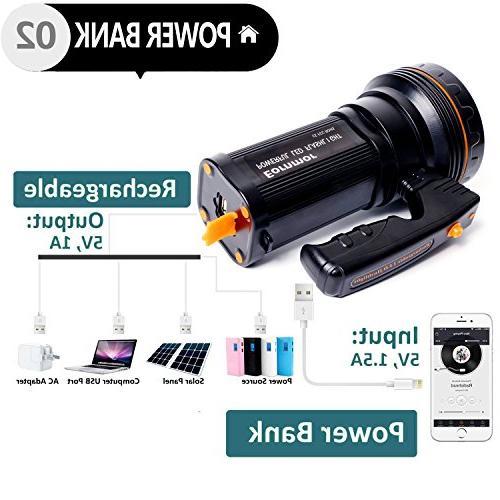 Eornmor Handheld Flashlight USB Rechargeable spotlight Torch Multi-function Long 9000ma 35W