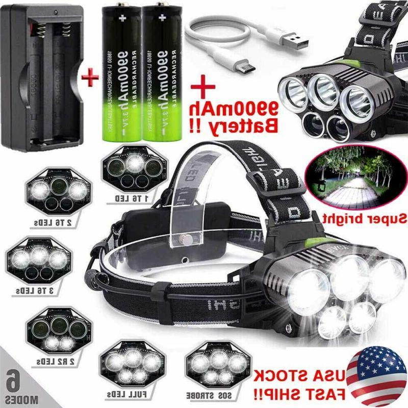 headlamp 200000lm t6 led rechargeable headlight flashlight