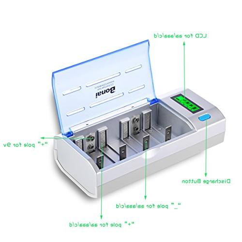 BONAI Universal Battery Charger for C, D, Ni-CD Rechargeable Batteries with Discharge