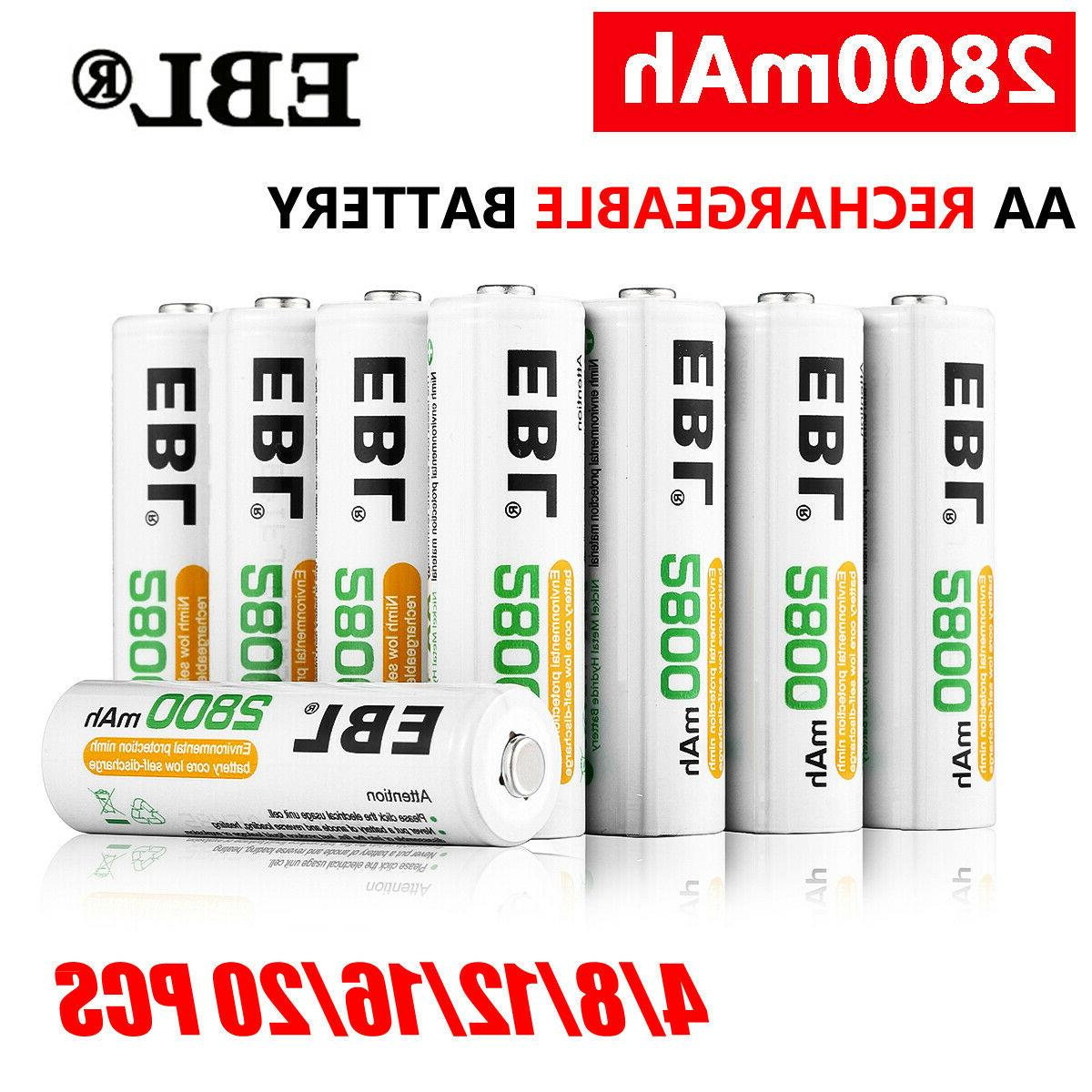 lot 2800mah aa rechargeable batteries ni mh
